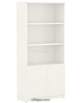 Armario de madera alto Emese con puertas bajas ofitipo 6