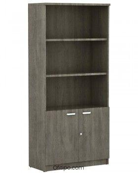Armario de madera alto Emese con puertas bajas ofitipo 7