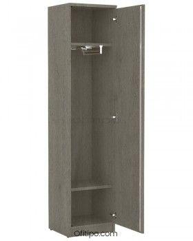 Armario de madera alto Emese estrecho con puerta ofitipo 6