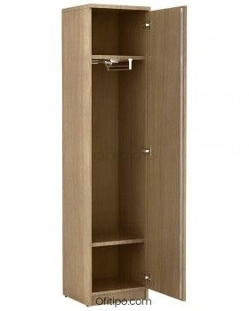 Armario de madera alto Emese estrecho con puerta ofitipo 4