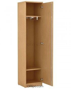 Armario de madera alto Emese estrecho con puerta ofitipo 3
