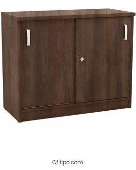 Armario de madera bajo Emese con puertas correderas ofitipo 2