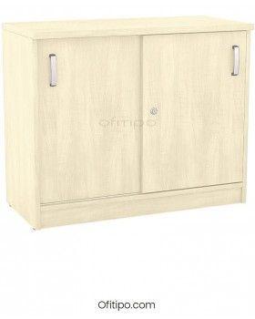 Armario de madera bajo Emese con puertas correderas ofitipo 5