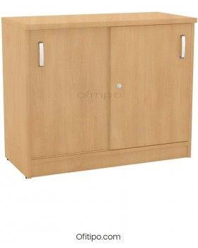 Armario de madera bajo Emese con puertas correderas ofitipo 8