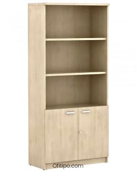 Armario de madera alto Emese con puertas bajas ofitipo 11