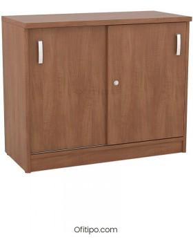 Armario de madera bajo Emese con puertas correderas ofitipo 11