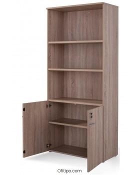 Armario de madera alto Borta con puertas bajas ofitipo 4