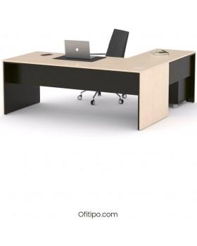 Mesa de despacho Eslem en L negra ofitipo 3