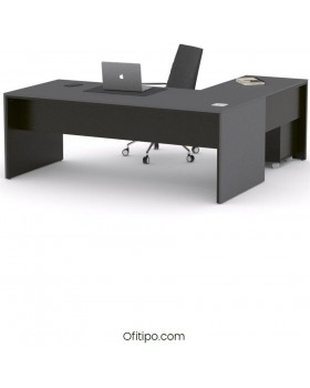 Mesa de despacho Eslem en L negra ofitipo 2