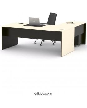 Mesa de despacho Eslem en L negra ofitipo 4