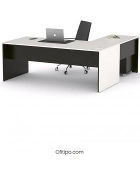 Mesa de despacho Eslem en L negra ofitipo 5