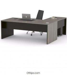 Mesa de despacho Eslem en L negra ofitipo 6