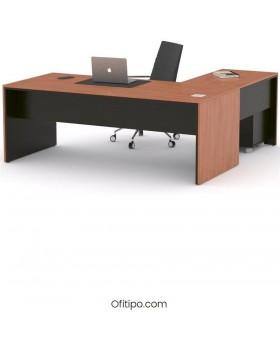 Mesa de despacho Eslem en L negra ofitipo 7