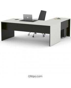 Mesa de despacho Eslem en L negra ofitipo 8