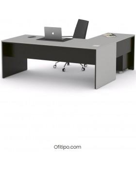 Mesa de despacho Eslem en L negra ofitipo 9