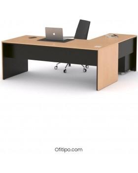 Mesa de despacho Eslem en L negra ofitipo 10