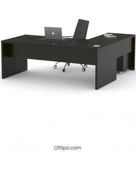 Mesa de despacho Eslem en L negra ofitipo 11