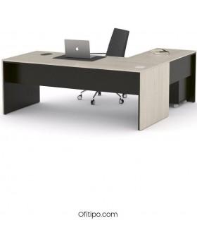 Mesa de despacho Eslem en L negra ofitipo 12