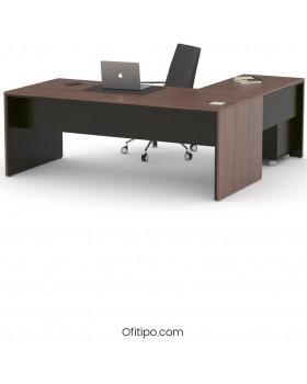 Mesa de despacho Eslem en L negra ofitipo 13