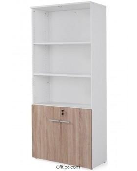 Armario de madera alto Borta con puertas bajas ofitipo 8