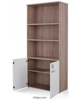 Armario de madera alto Borta con puertas bajas ofitipo 10