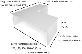 Imagen medidas - Mesa de despacho Nocor en L ofitipo