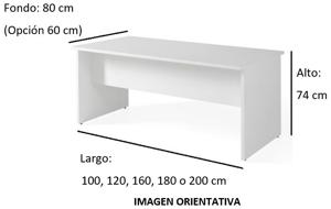 Imagen medidas - Mesa de despacho Norgate ofitipo