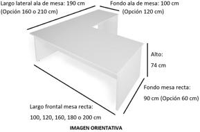 Imagen medidas - Mesa de despacho Pamendo en L ofitipo