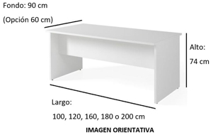 Imagen medidas - Mesa de despacho Pamendo ofitipo