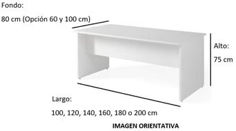 Imagen medidas - Mesa de despacho Pasam ofitipo---