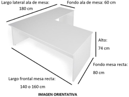 Imagen medidas - Mesa operativa Borta en L envio rapido ofitipo