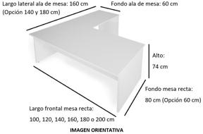 Imagen medidas - Mesa operativa Careco en L ofitipo