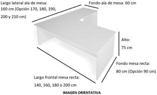 Imagen medidas - Mesa operativa Eslem en L ofitipo-