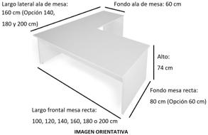 Imagen medidas - Mesa operativa Komat en L ofitipo