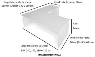 Imagen medidas - Mesa operativa Kubal en L ofitipo