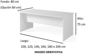 Imagen medidas - Mesa operativa Tasli ofitipo