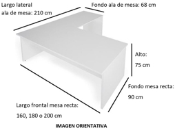 Imagen medidas 1 - Mesa de despacho Garud en L ofitipo