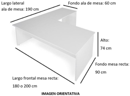 Imagen medidas 1 - Mesa de despacho Vestara en L ofitipo